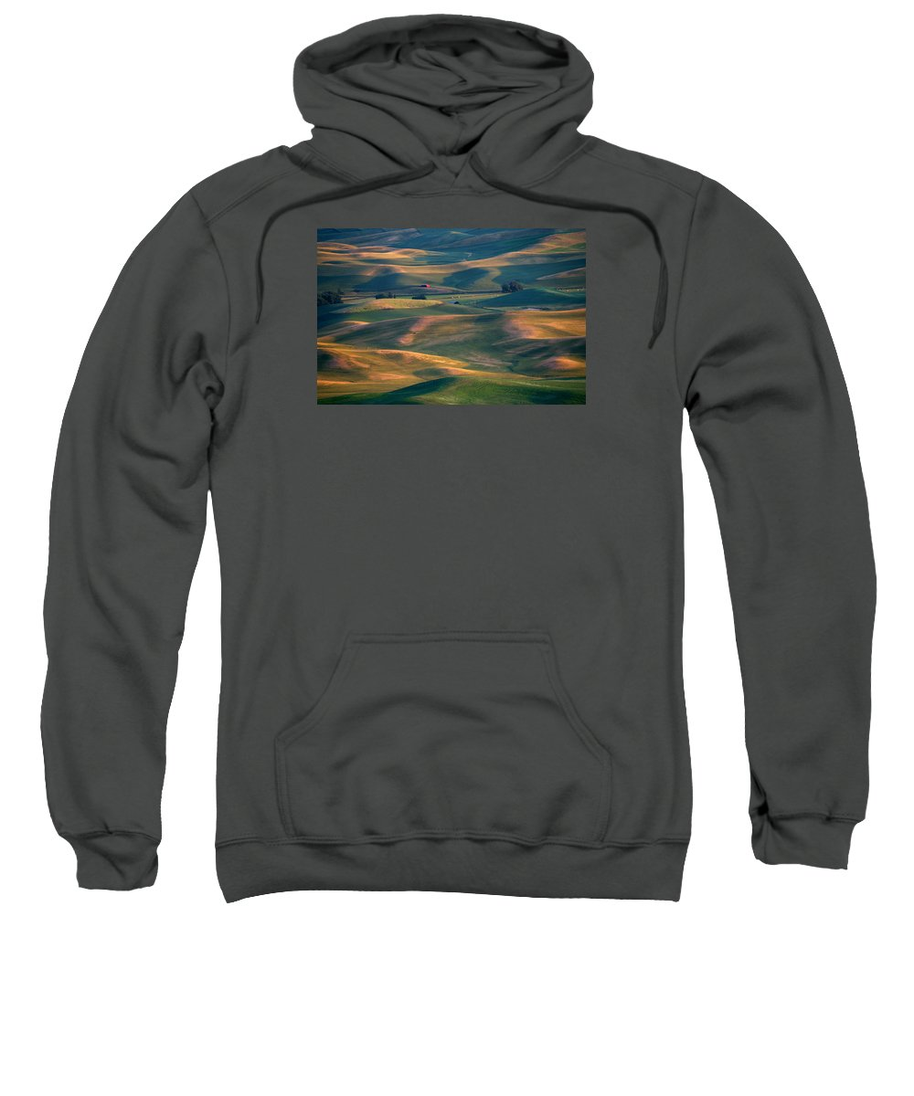 Barn Sweatshirt featuring the photograph Red In A Sea Of Green by Mike Dawson