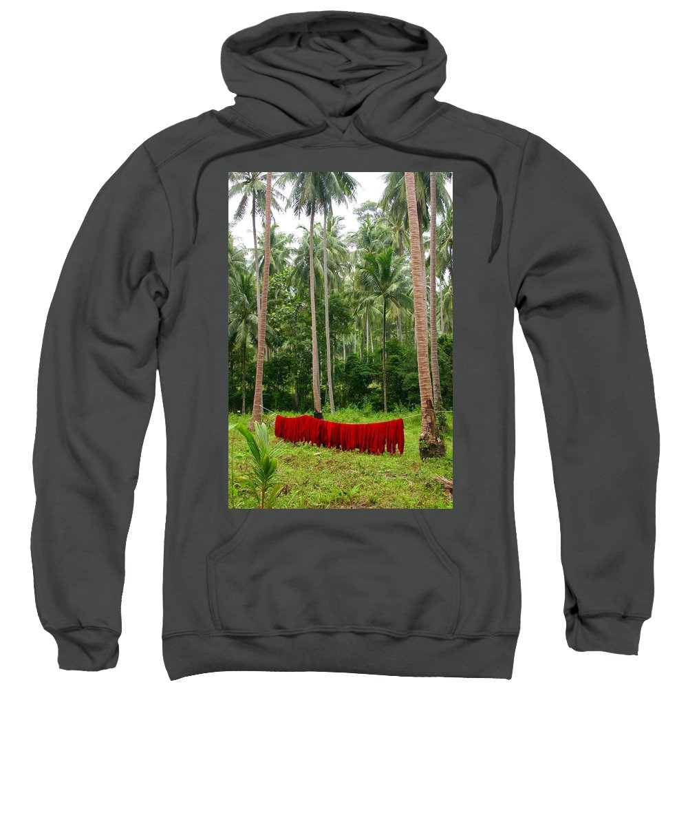 Palm Trees Sweatshirt featuring the photograph Red In The Jungle by Minaz Jantz