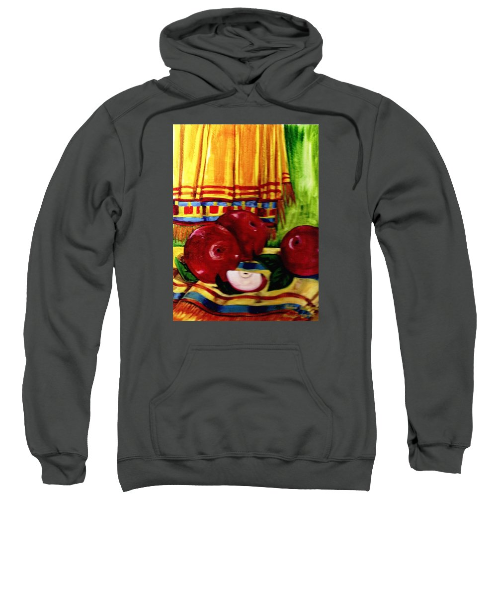 Red Juicy Apples Sweatshirt featuring the painting Red Juicy Apples by Robin Cordero