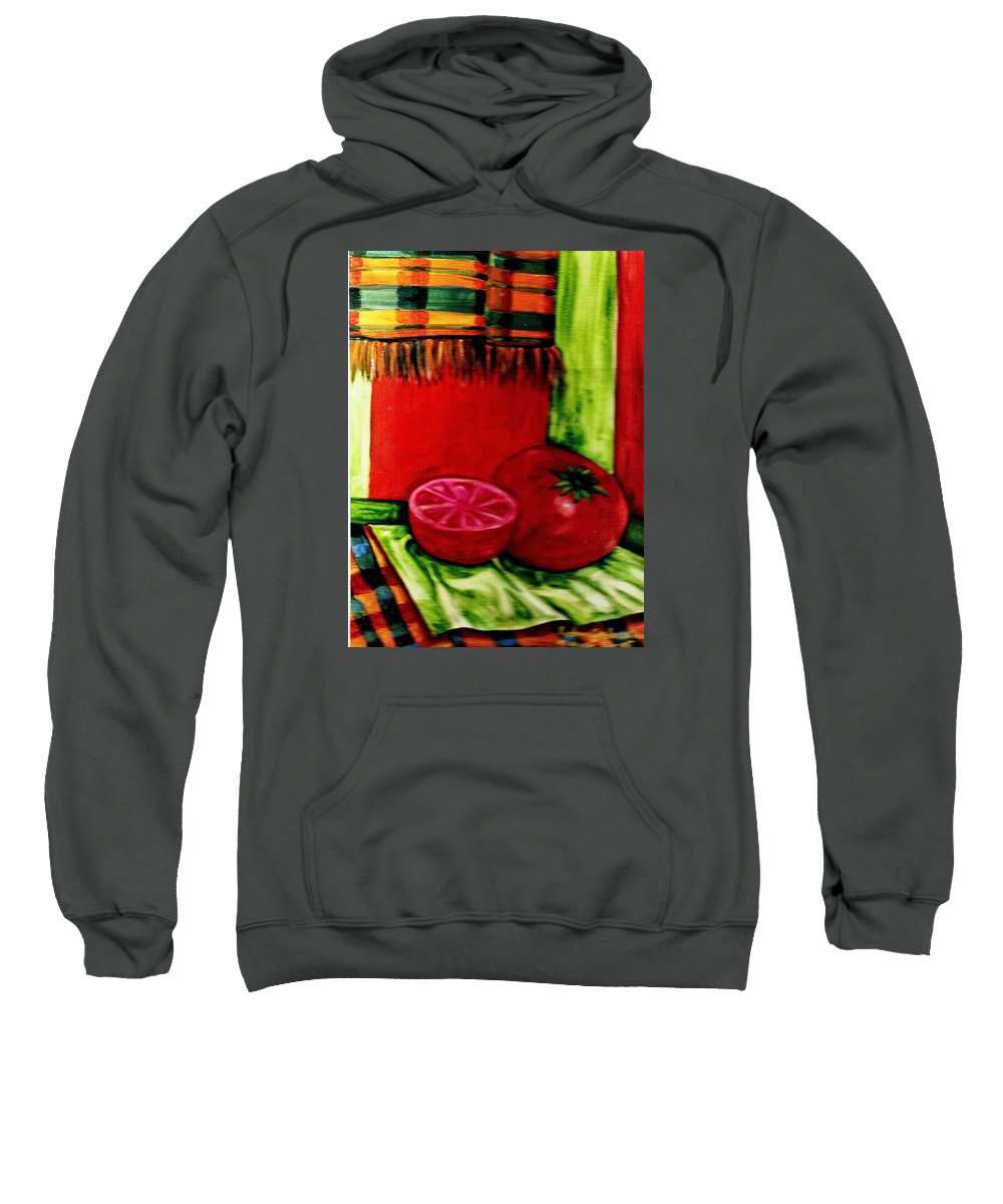 Red Juicy Tomatoe's Sweatshirt featuring the painting Red Juicy Tomatoe's by Robin Cordero
