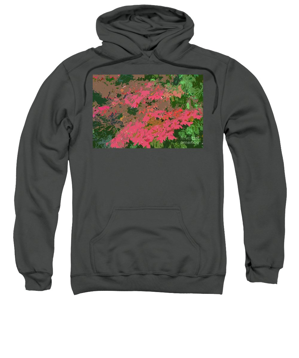 Red Sweatshirt featuring the photograph Red Leafs Work Number 12 by David Lee Thompson
