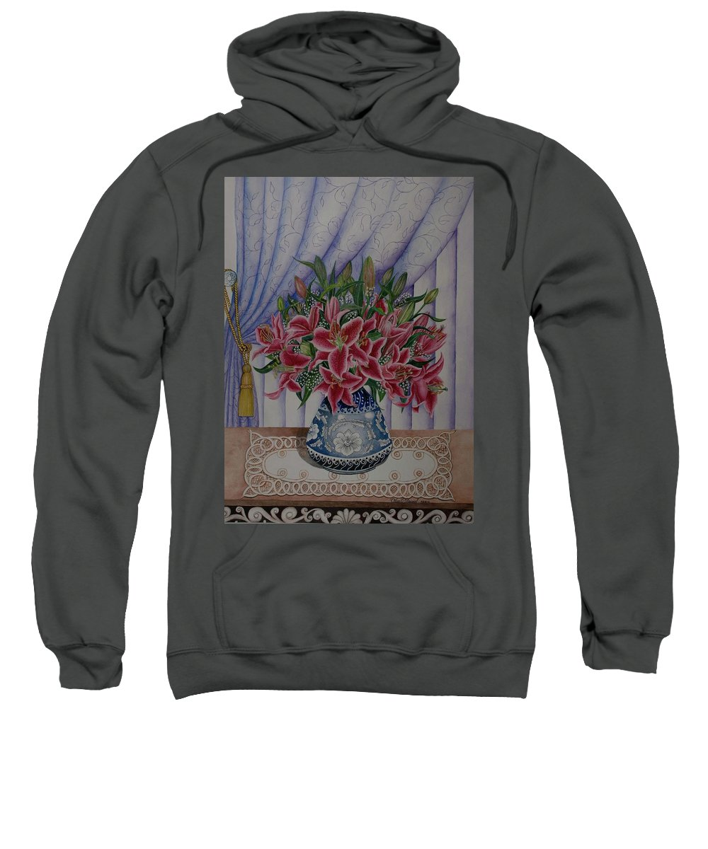 Watercolor Lilies Sweatshirt featuring the painting Red Lilies by Olive Pascual