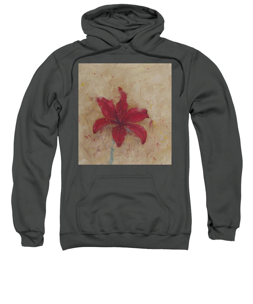 Red Sweatshirt featuring the painting Red Lily by Monica Burnette