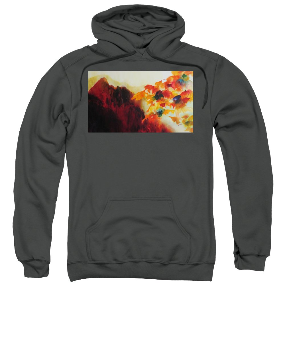 Landscape Sweatshirt featuring the painting Red Mountain by Peggy Guichu