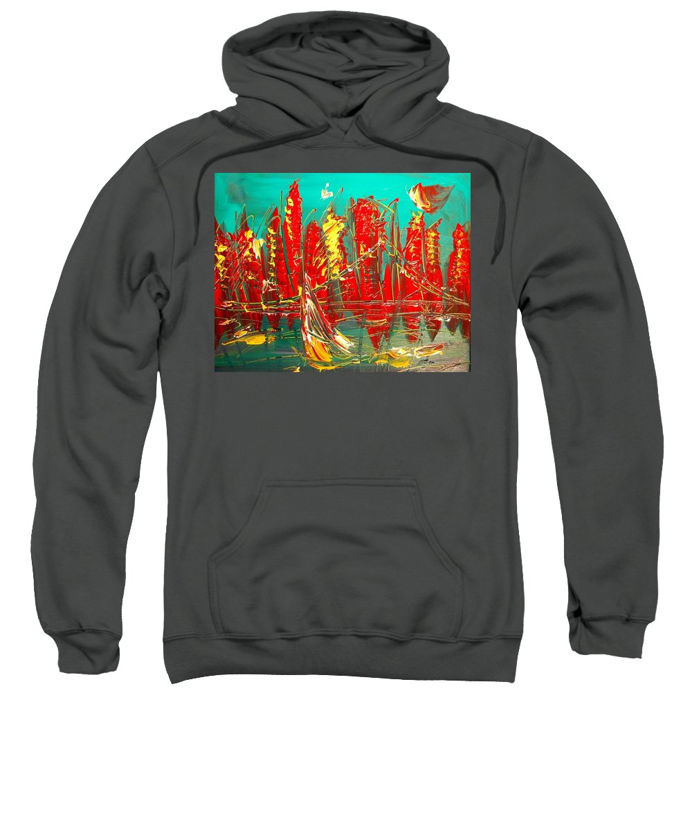 Surreal Framed Prints Sweatshirt featuring the painting Red Nyc by Mark Kazav