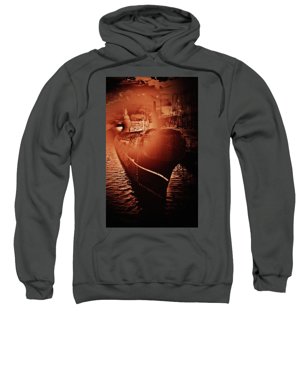 Submarine Sweatshirt featuring the photograph Red October -3 by Guy Vandervoort