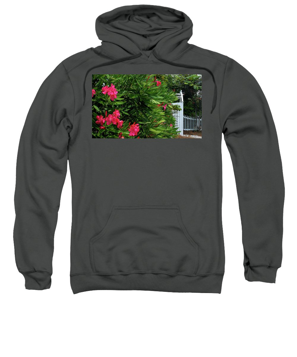 Red Sweatshirt featuring the photograph Red Oleander Arbor by Marie Hicks