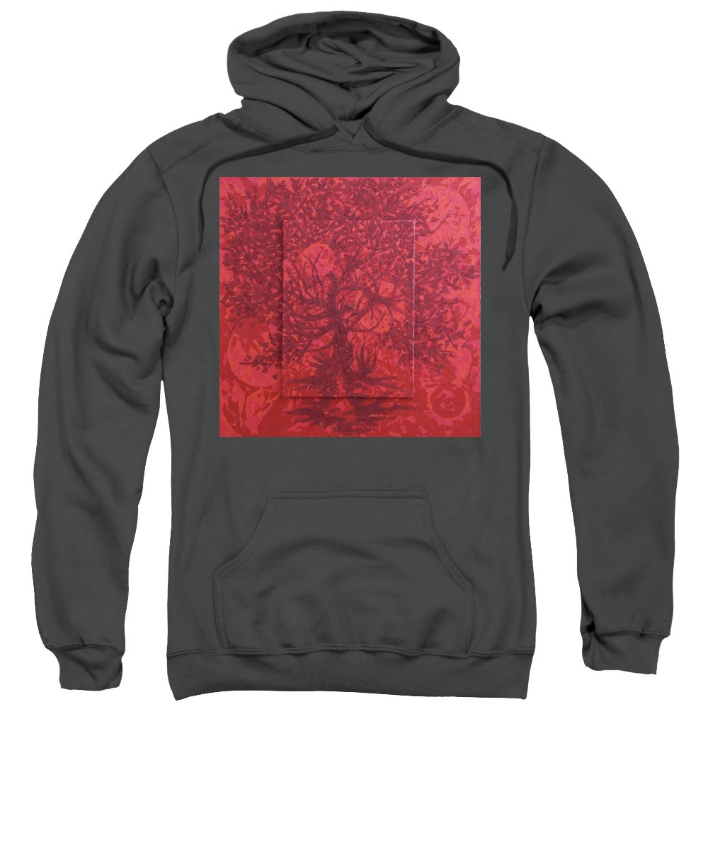 Red Sweatshirt featuring the painting Red Planet by Judy Henninger