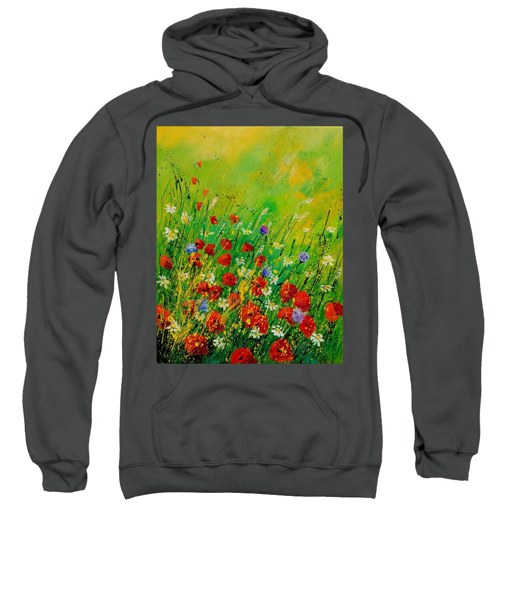 Flowers Sweatshirt featuring the painting Red Poppies 450708 by Pol Ledent