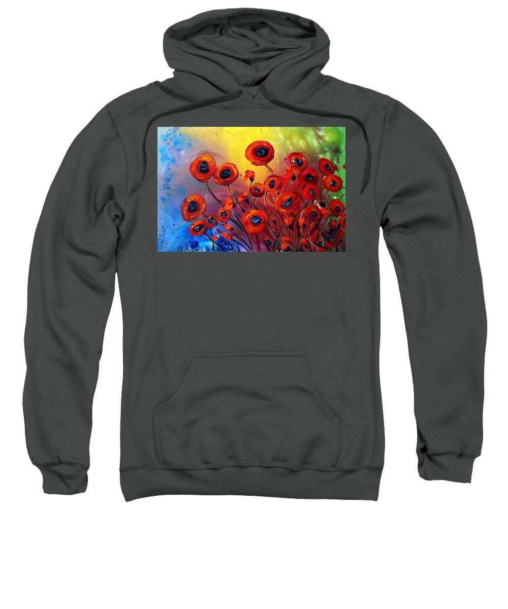 Flowers Sweatshirt featuring the painting Red Poppies In Rain by Luiza Vizoli