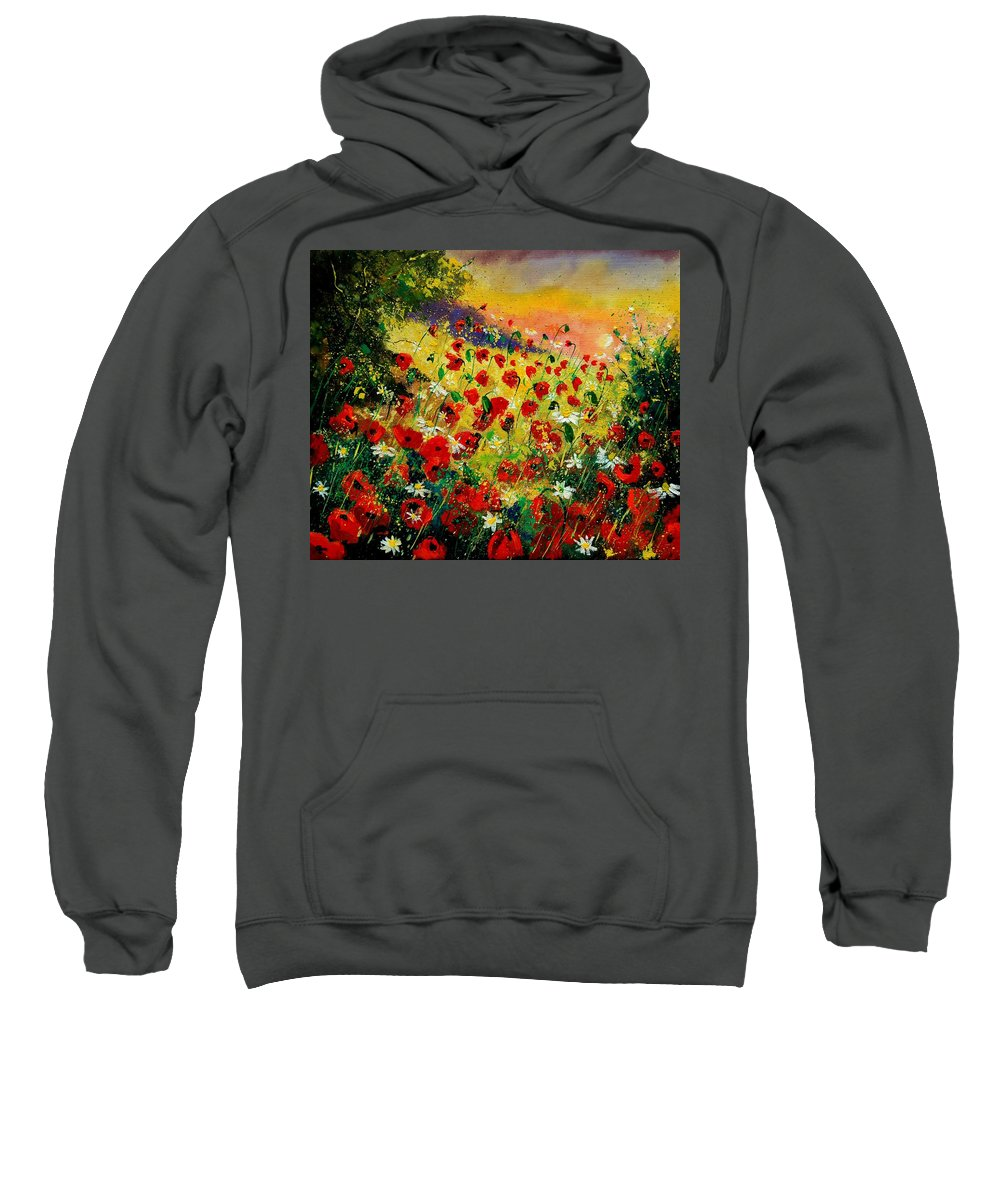 Tree Sweatshirt featuring the painting Red Poppies by Pol Ledent