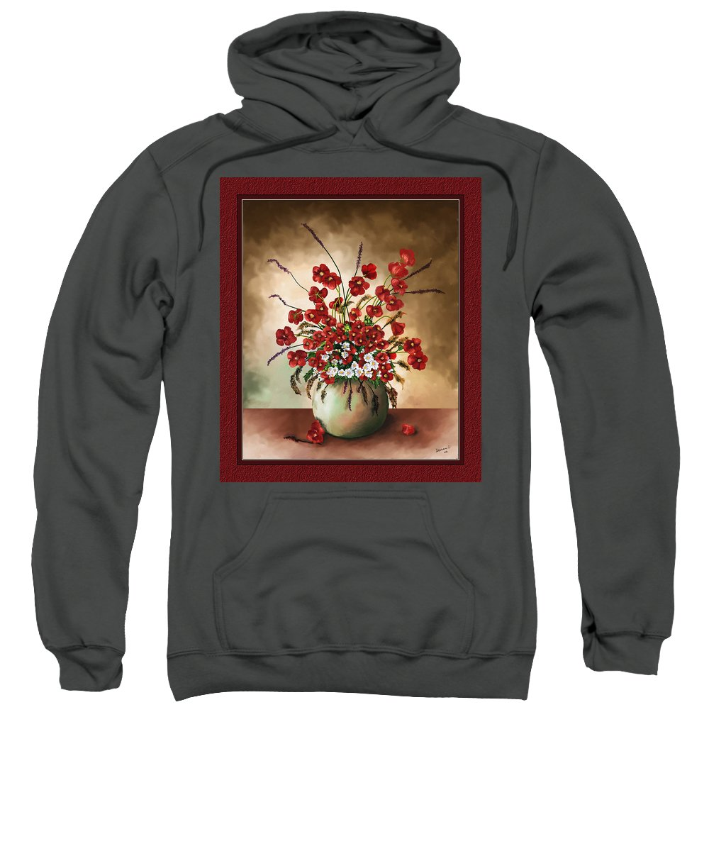 Red Poppies Sweatshirt featuring the digital art Red Poppies by Susan Kinney