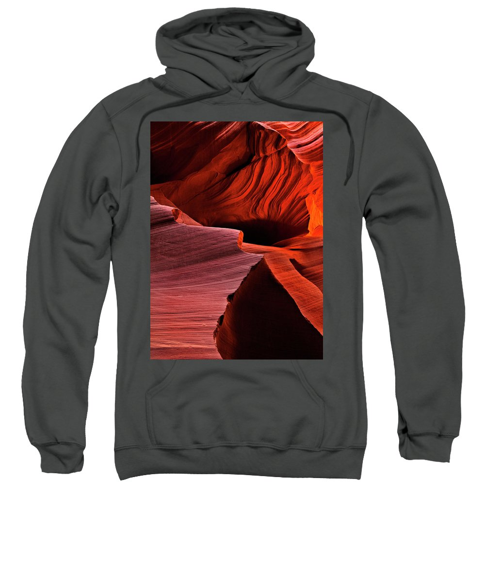 Antelope Canyon Sweatshirt featuring the photograph Red Rock Inferno by Mike Dawson