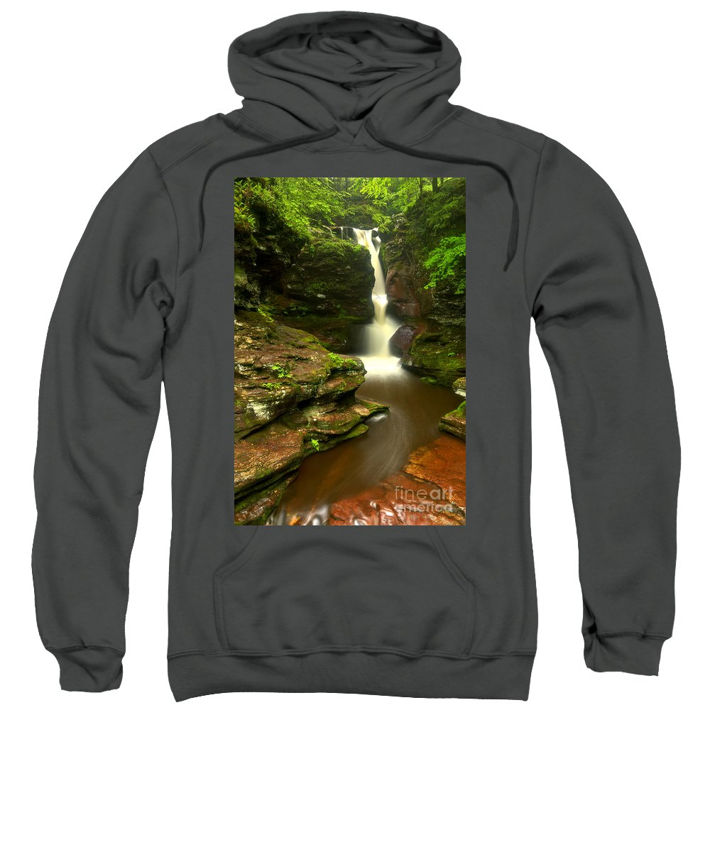 Adams Falls Sweatshirt featuring the photograph Red Rocks And Lush Green Forest by Adam Jewell