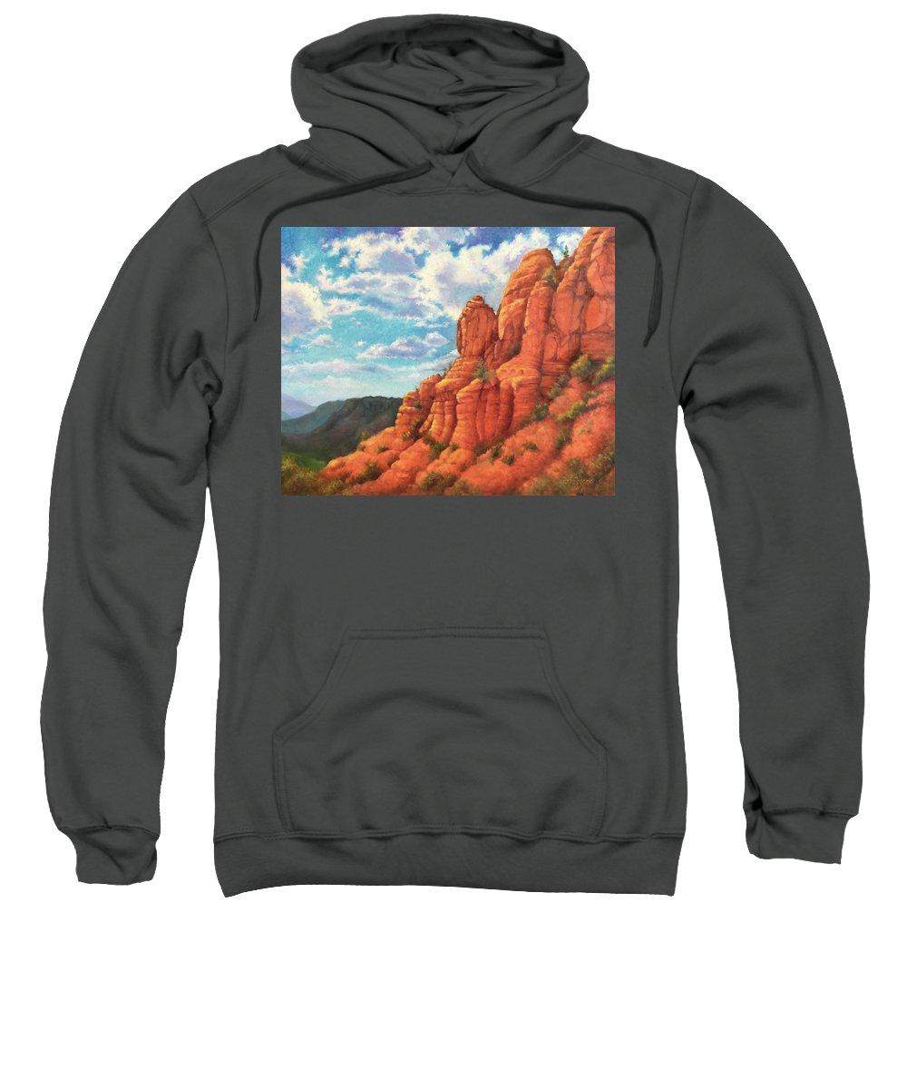 Sedona Sweatshirt featuring the painting Red Rocks by Teri Rosario