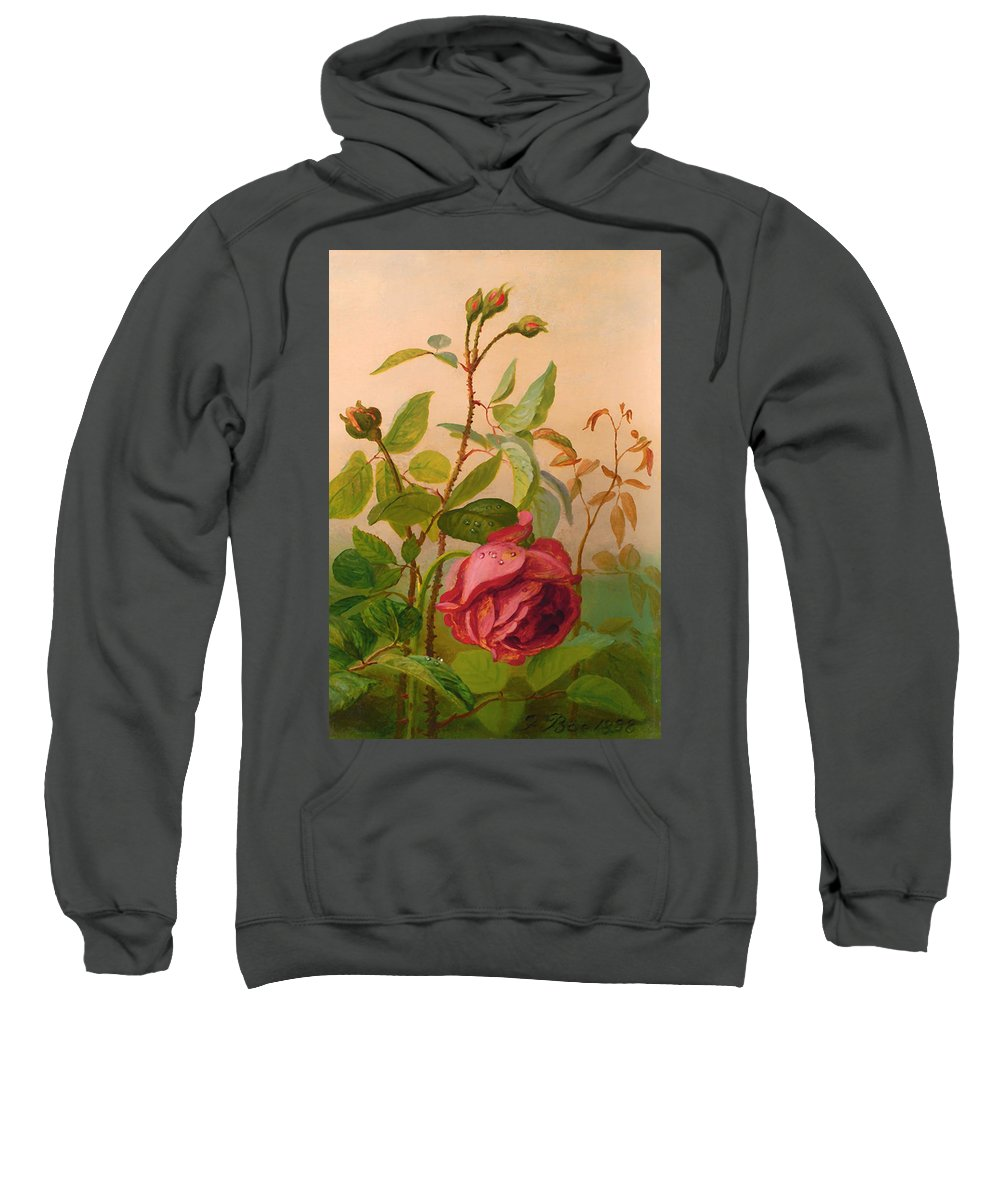 Painting Sweatshirt featuring the painting Red Rose by Mountain Dreams