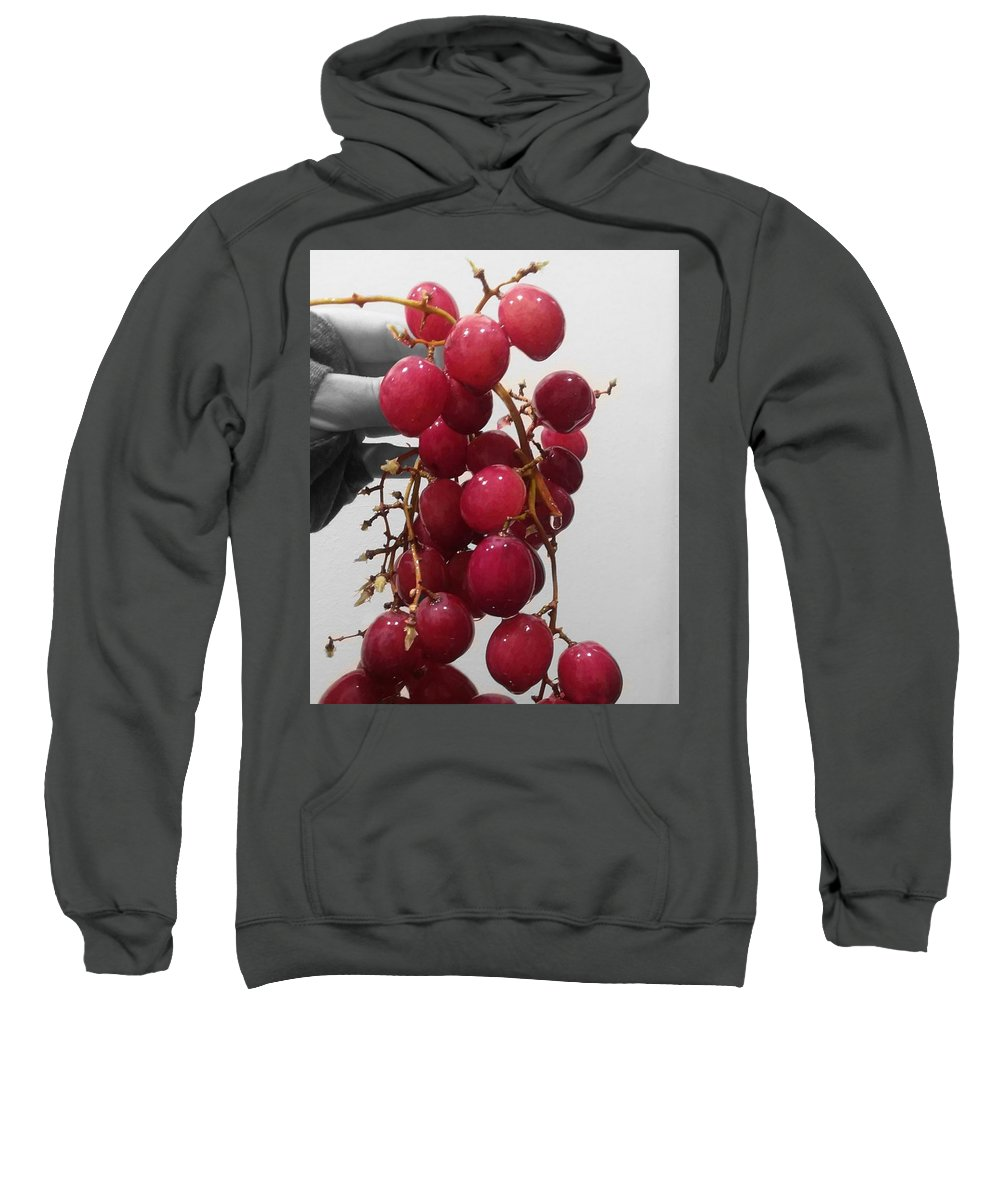 Selective Color Sweatshirt featuring the digital art Red Seedless Grape Cluster by CG Abrams