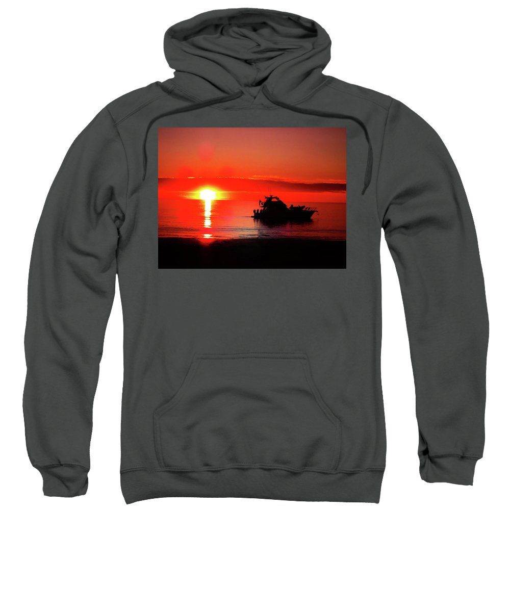 Boat Sweatshirt featuring the photograph Red Silhouette by Douglas Barnard