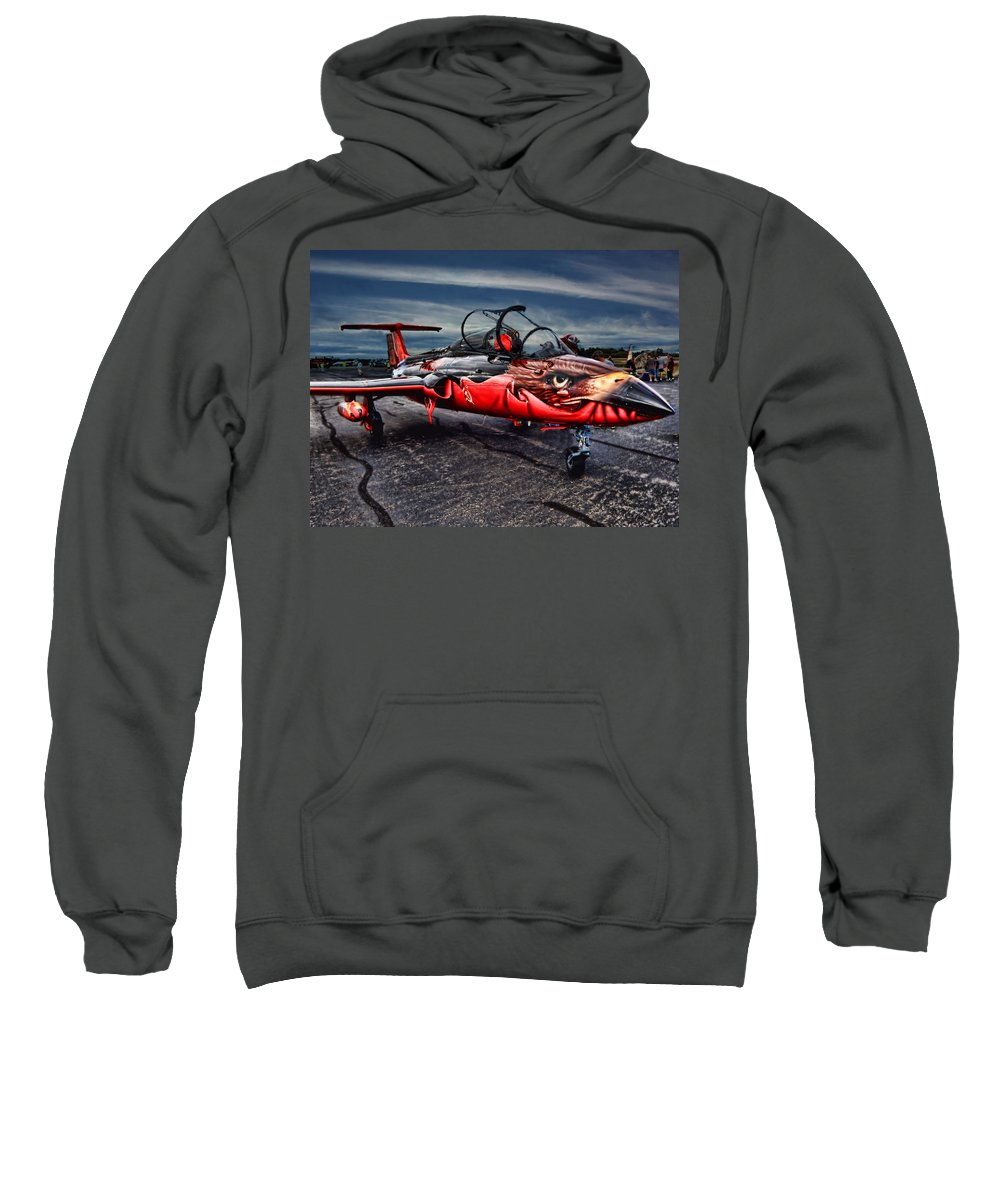 Jet Plane Viper L 29 Sweatshirt featuring the photograph Red Star Viper Russian Side by Bob Welch