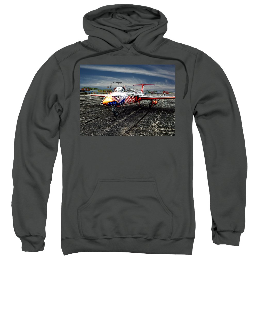 Jet Plane Viper L 29 Sweatshirt featuring the photograph Red Star Viper United States Side by Bob Welch