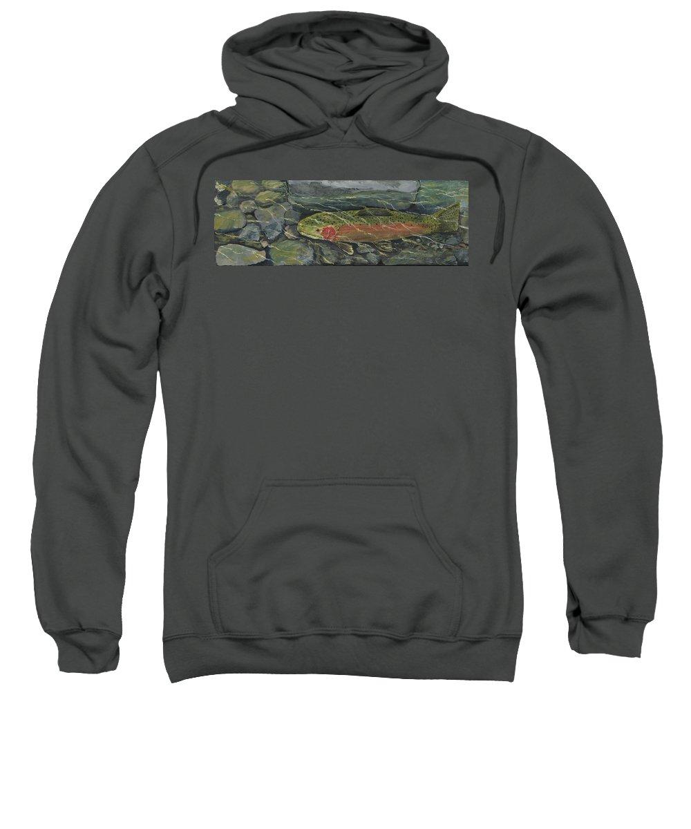 Fish Sweatshirt featuring the painting Red Steelhead by Sara Stevenson