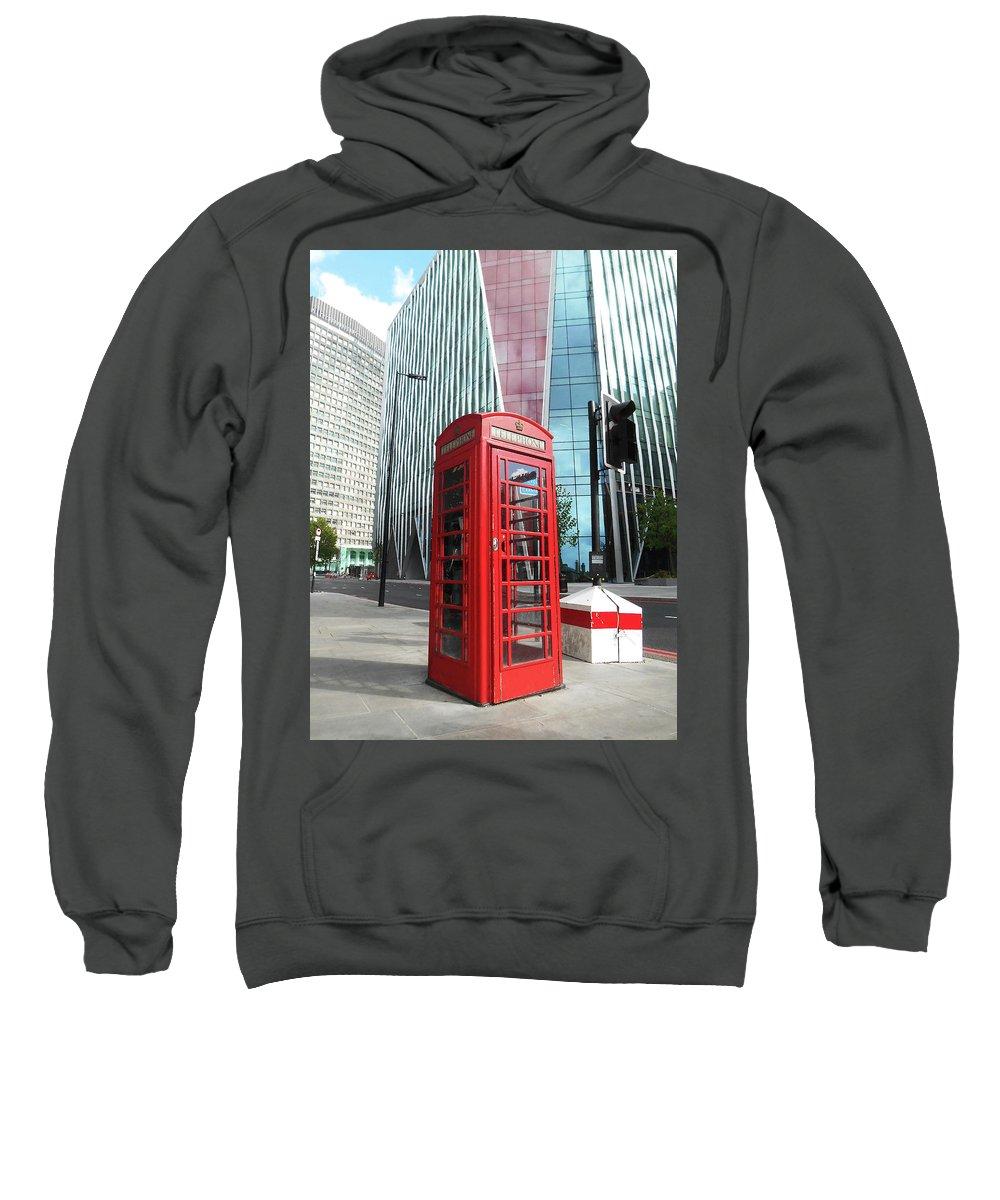 Red Sweatshirt featuring the photograph Red Telephone Booth London City by Irina Sztukowski