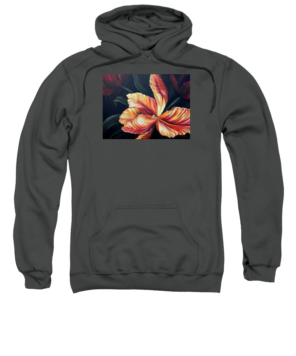 Flower Sweatshirt featuring the painting Red Tulip Blossom by Manny Carwile