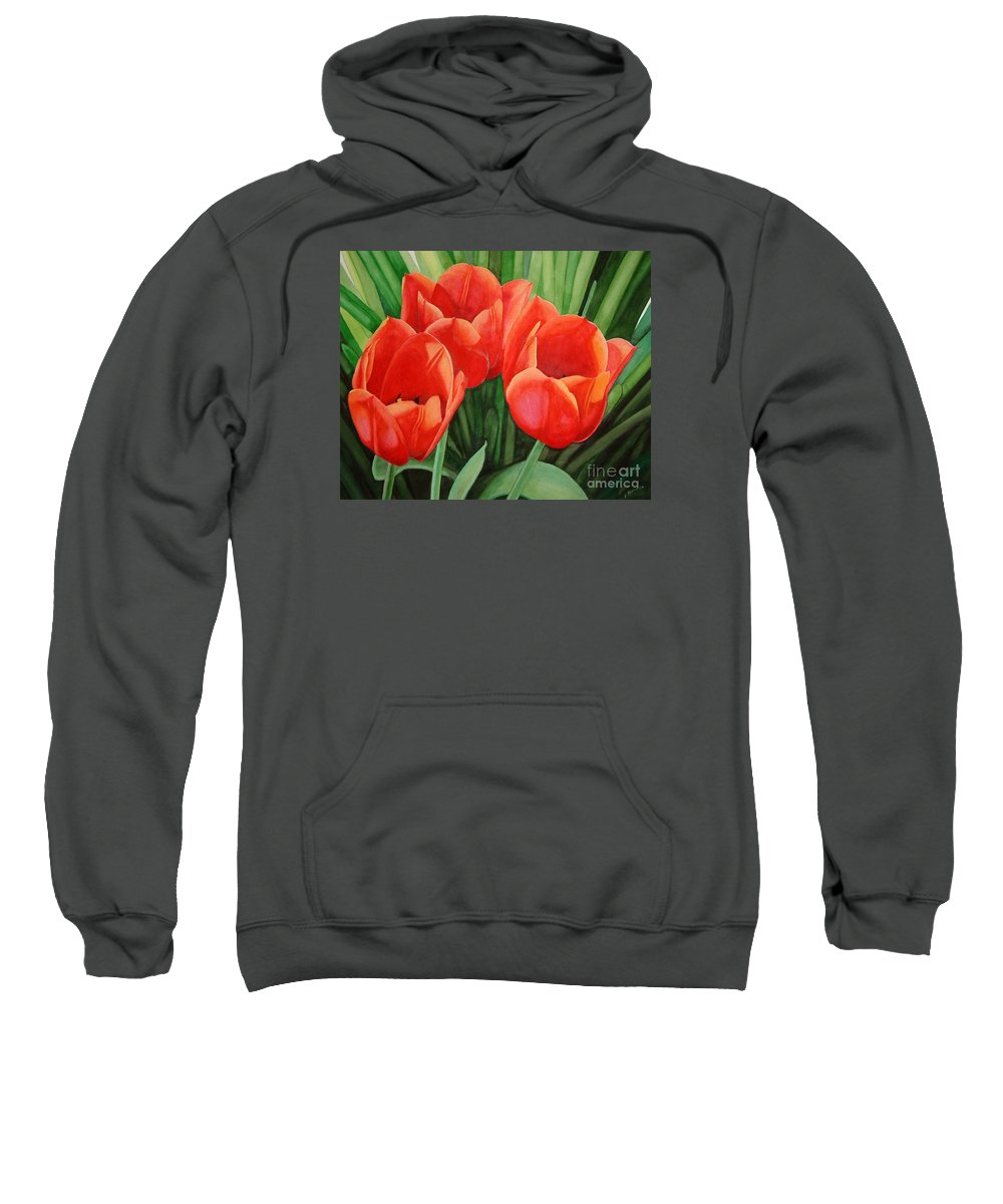 Red Sweatshirt featuring the painting Red Tulip Trio by Vivian Bound