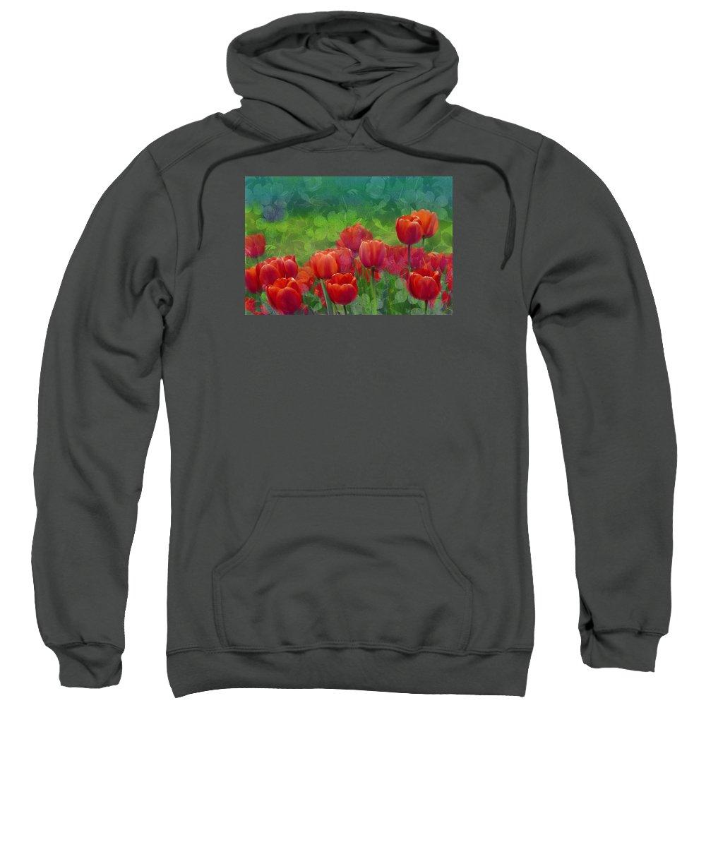 Tulips Sweatshirt featuring the mixed media Red Tulips by Georgiana Romanovna