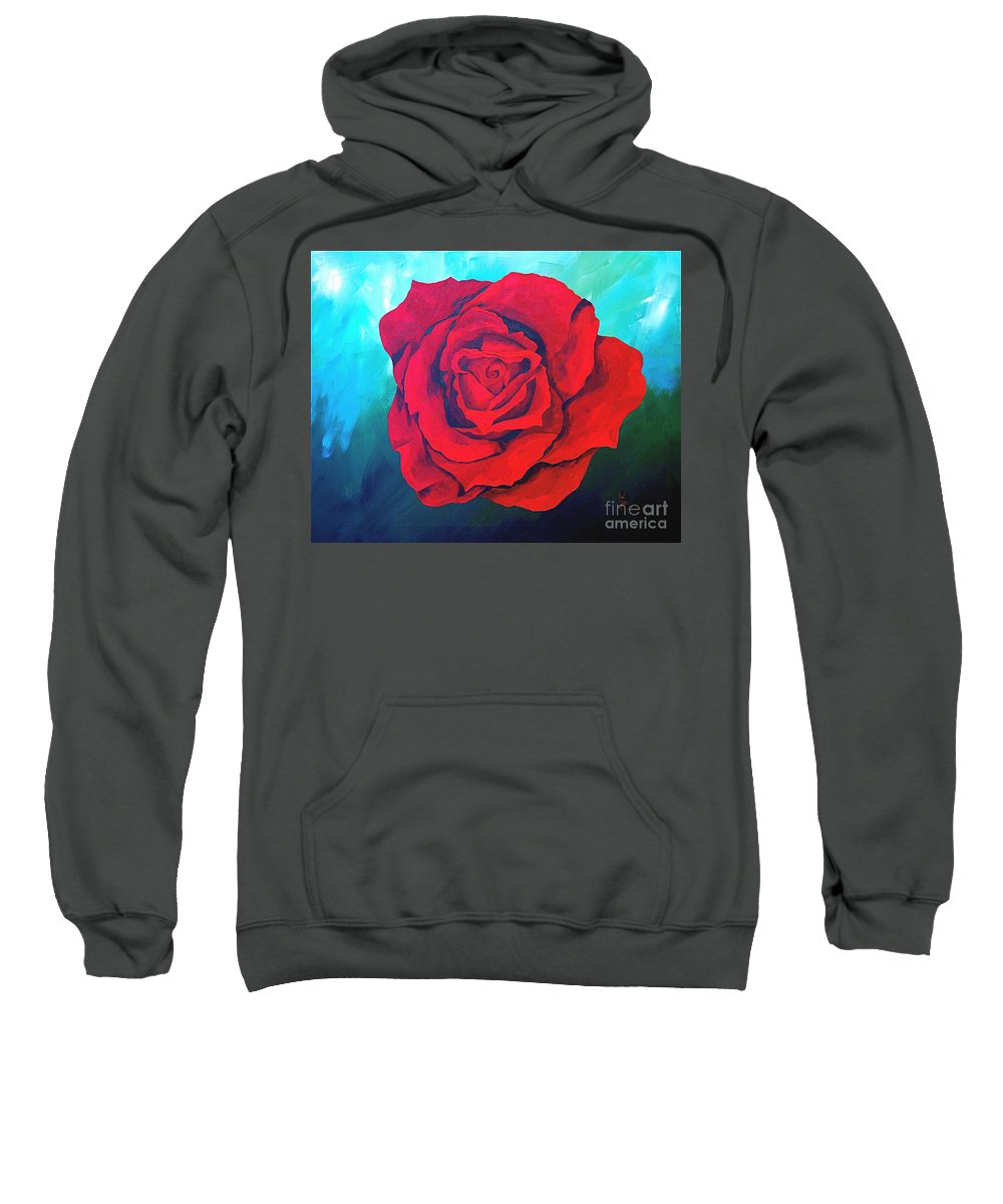 Red Rose Deep Red Rose 3d Ice Rose Sweatshirt featuring the painting Red Velvet by Herschel Fall
