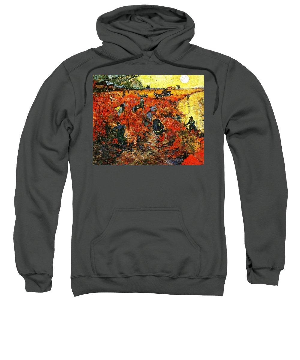 Impressionism Sweatshirt featuring the painting Red Vineyard by Sumit Mehndiratta