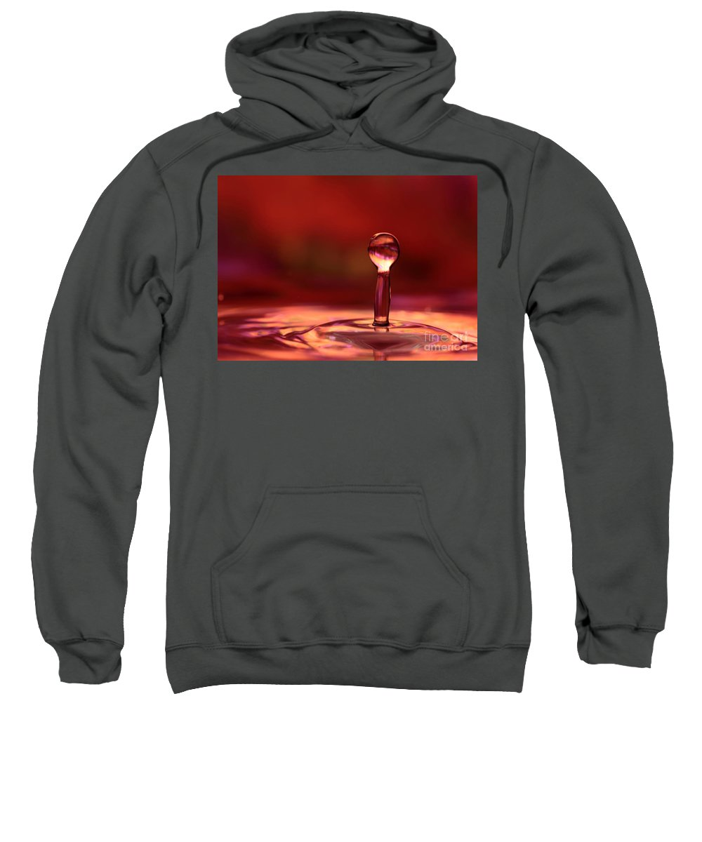 Red Sweatshirt featuring the photograph Red Water Drop by Sabrina L Ryan