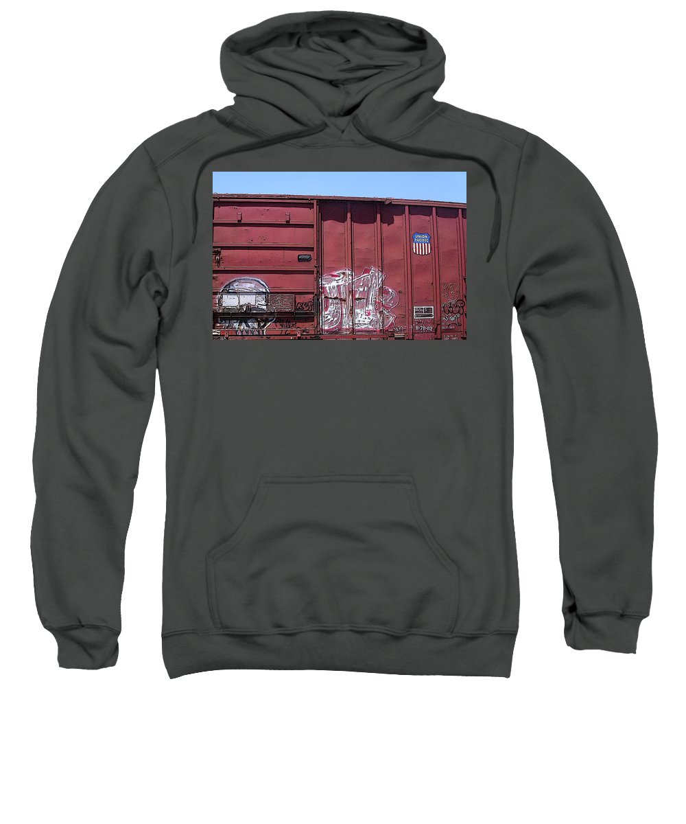 Train Sweatshirt featuring the photograph Red White And Blue by Anne Cameron Cutri