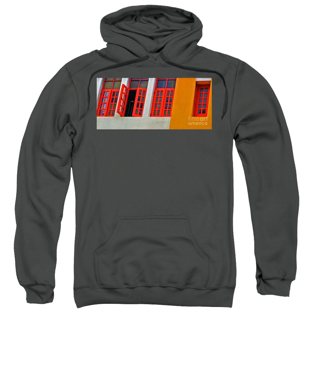 Windows Sweatshirt featuring the photograph Red Windows by Debbi Granruth