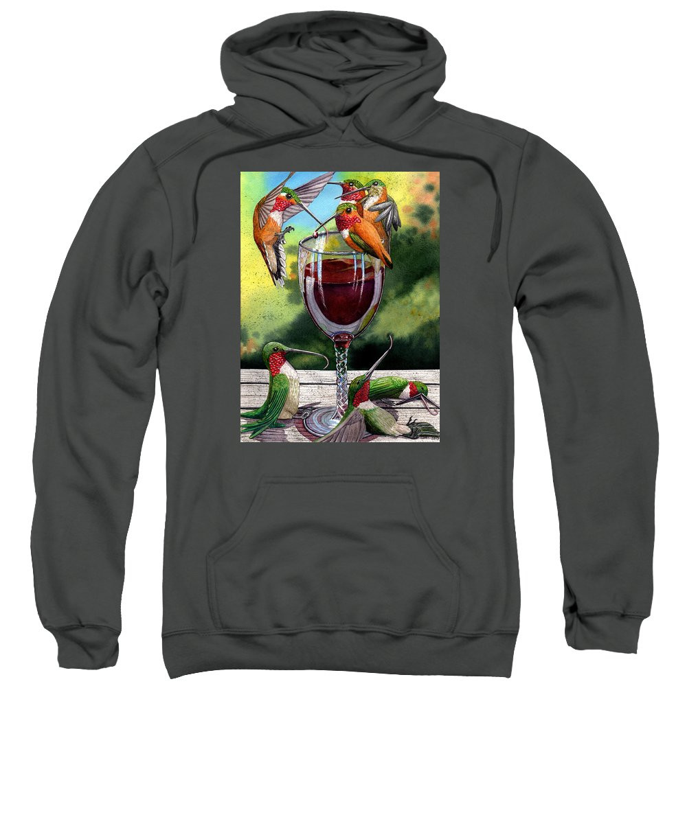 Hummingbird Sweatshirt featuring the painting Red Winos by Catherine G McElroy