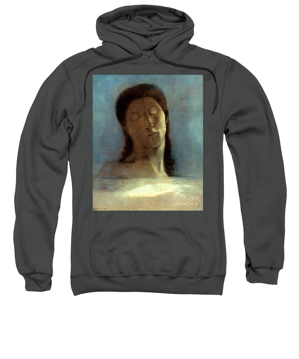 1890 Sweatshirt featuring the photograph Redon: Closed Eyes, 1890 by Granger