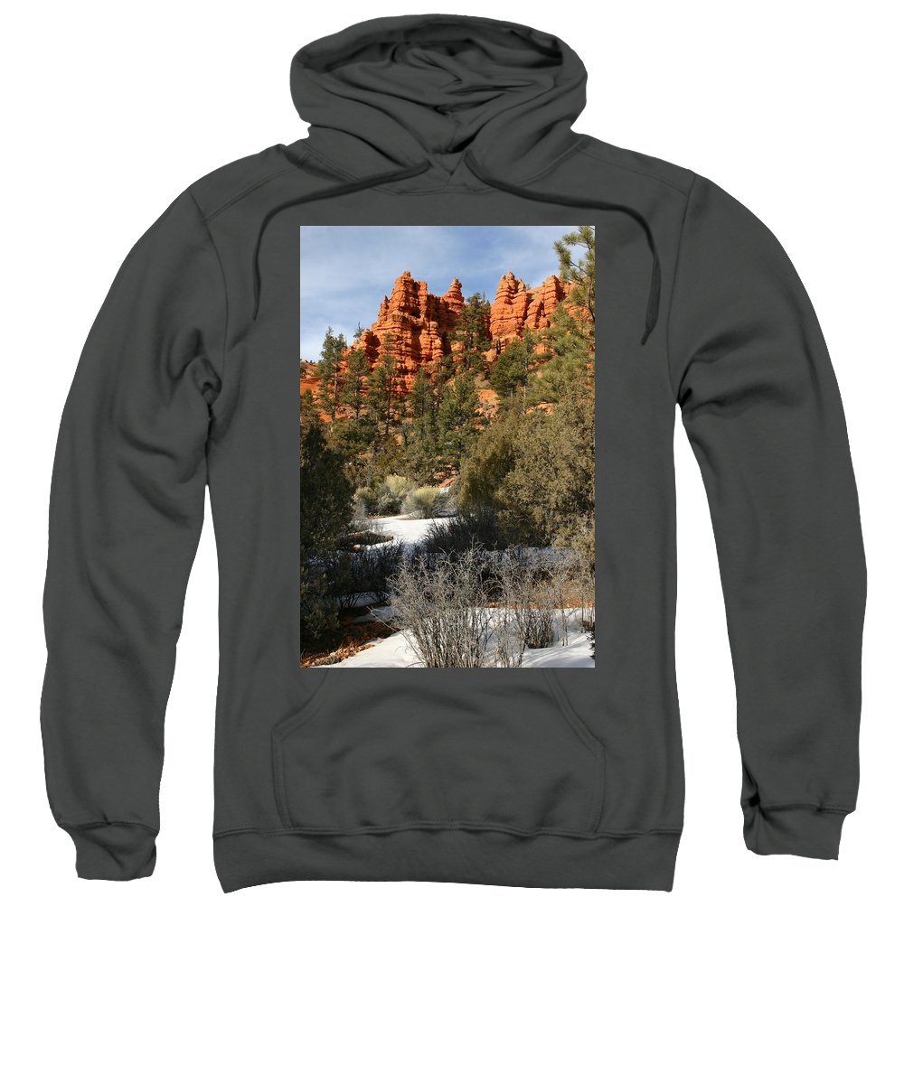 Red Rocks Sweatshirt featuring the photograph Redrock Winter by Nelson Strong