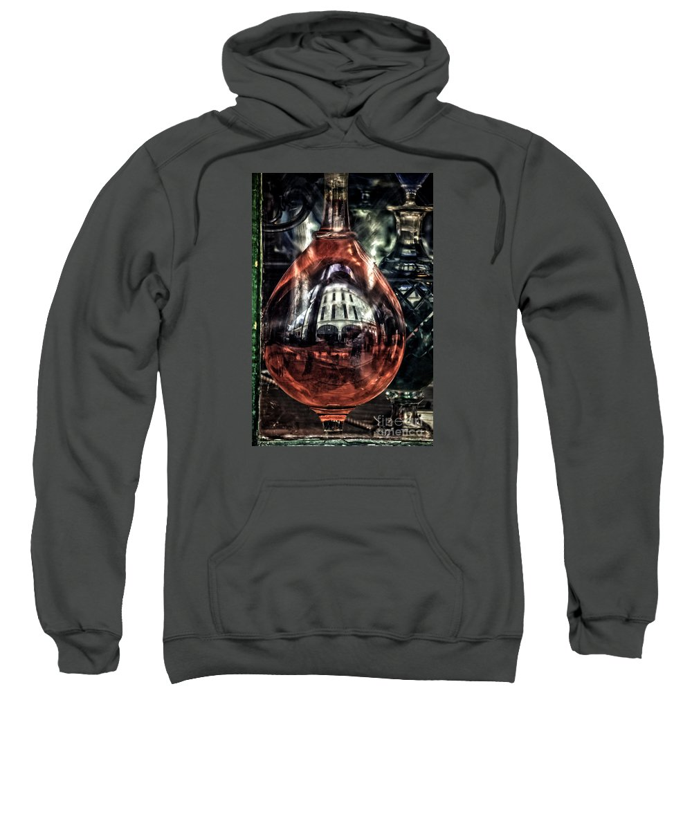 New Orleans Sweatshirt featuring the photograph Reflecting On An Apothecary's Window by Frances Ann Hattier