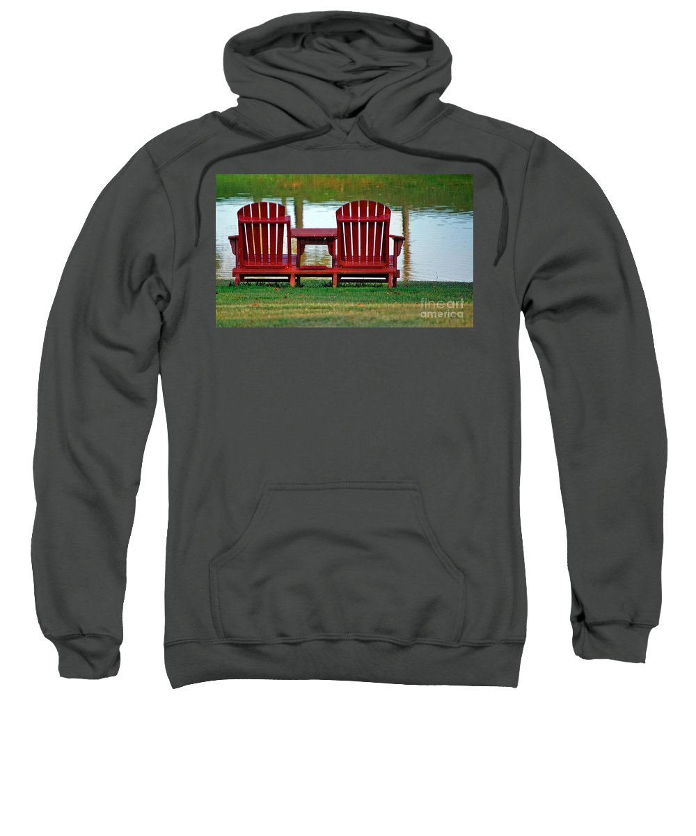 Chairs Sweatshirt featuring the photograph Reflection by Debbi Granruth