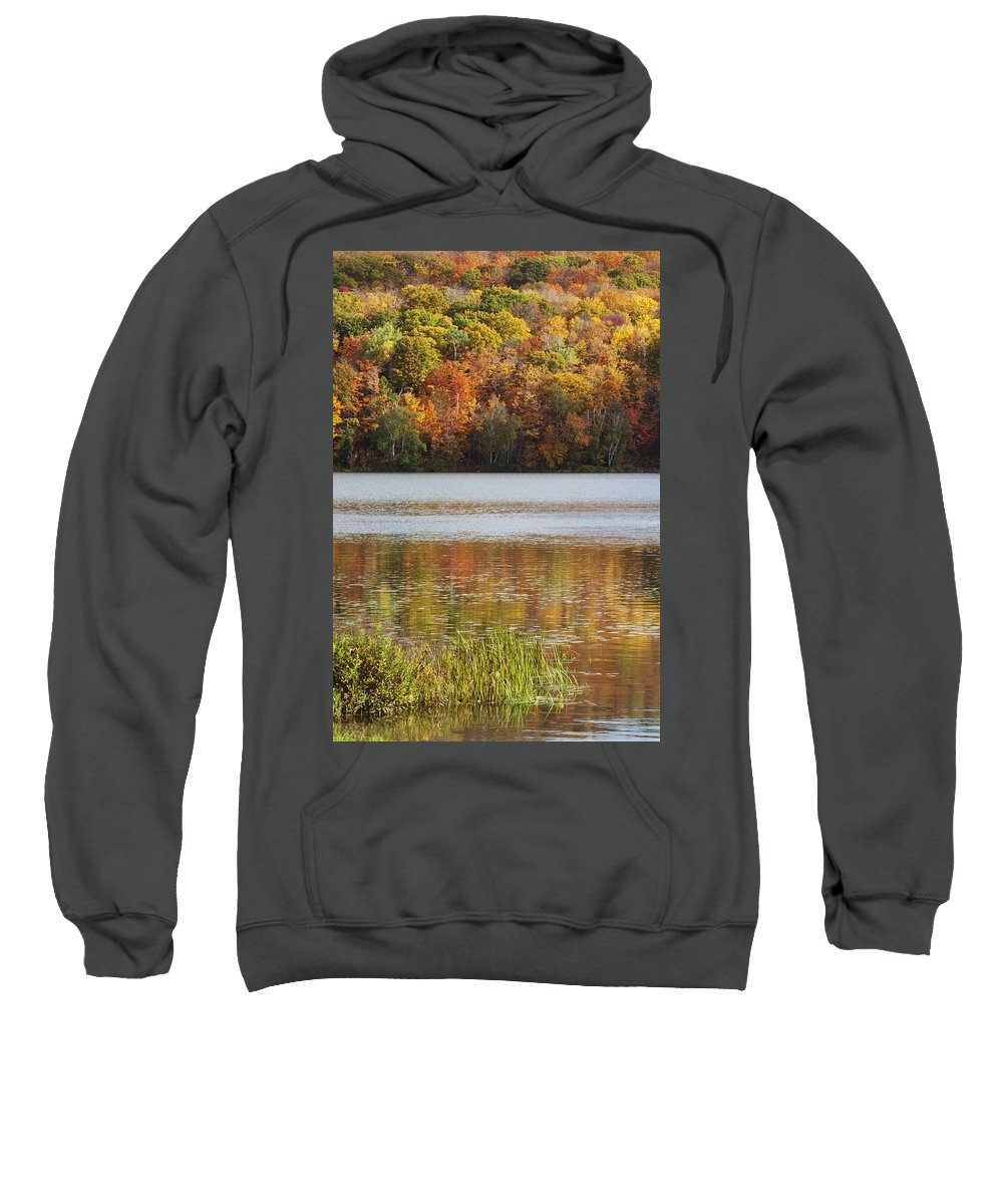 Shoreline Sweatshirt featuring the photograph Reflection Of Autumn Colors In A Lake by Susan Dykstra