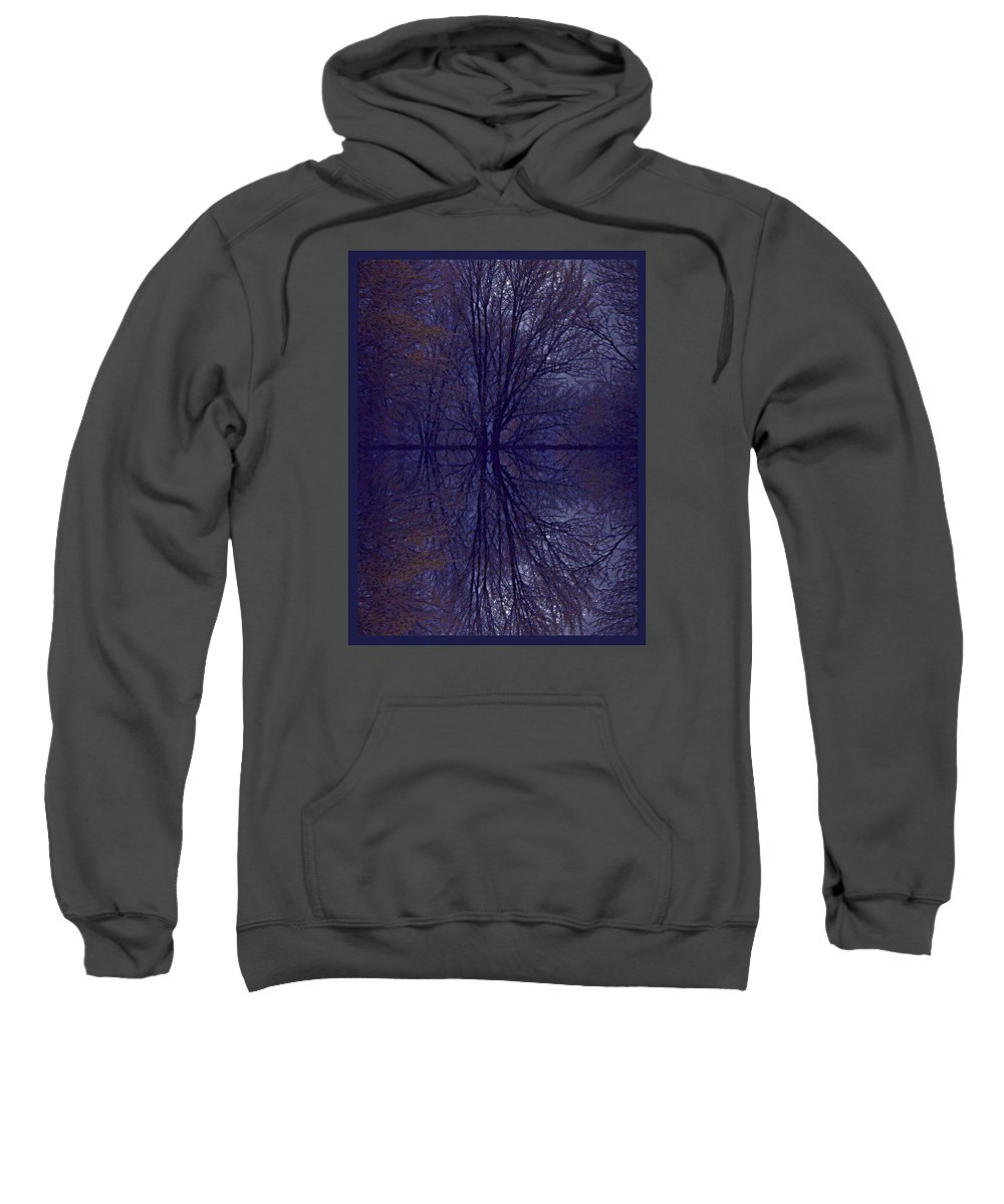 Eflection On Trees In The Dark Sweatshirt featuring the photograph Reflection On Trees In The Dark by Joy Nichols