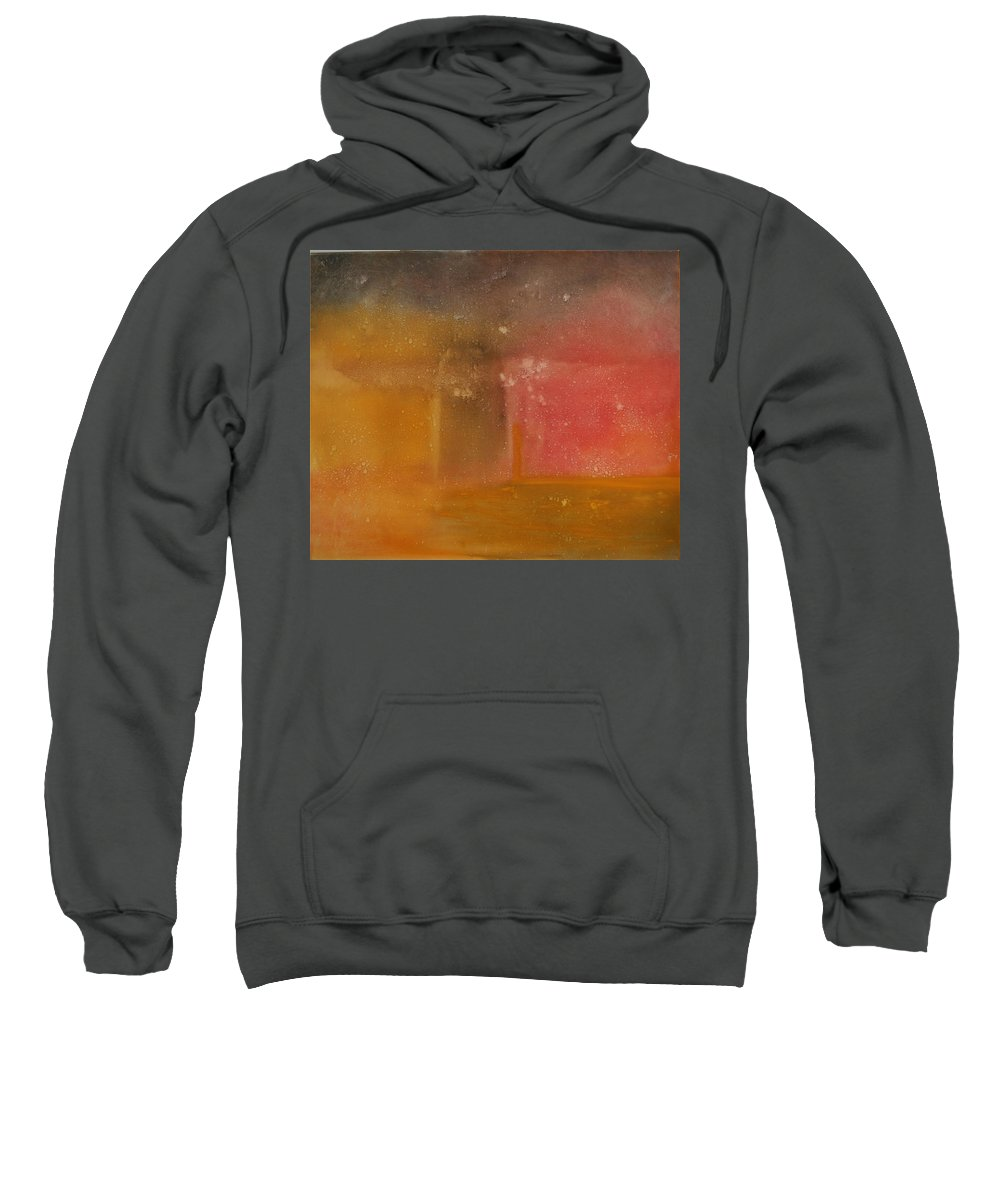 Storm Summer Red Yellow Gold Sweatshirt featuring the painting Reflection Summer Storm by Jack Diamond