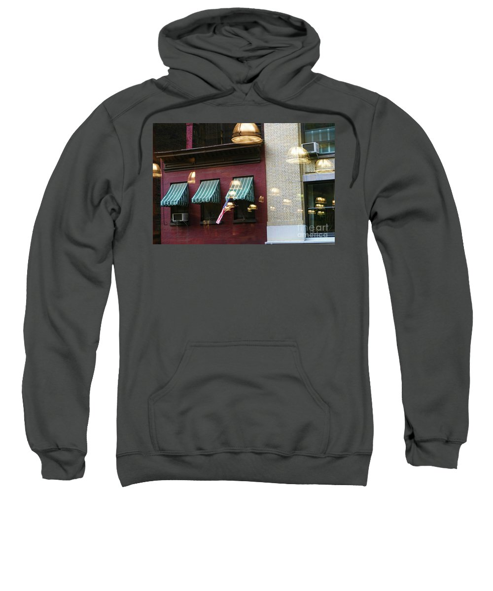 New York Sweatshirt featuring the photograph Reflections Building Nyc by Chuck Kuhn
