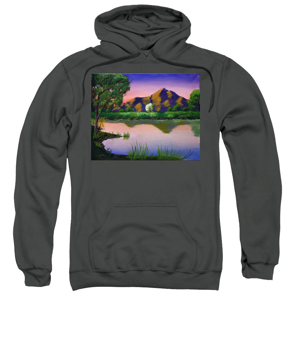 Landscape Sweatshirt featuring the painting Reflections In The Breeze by Dawn Blair