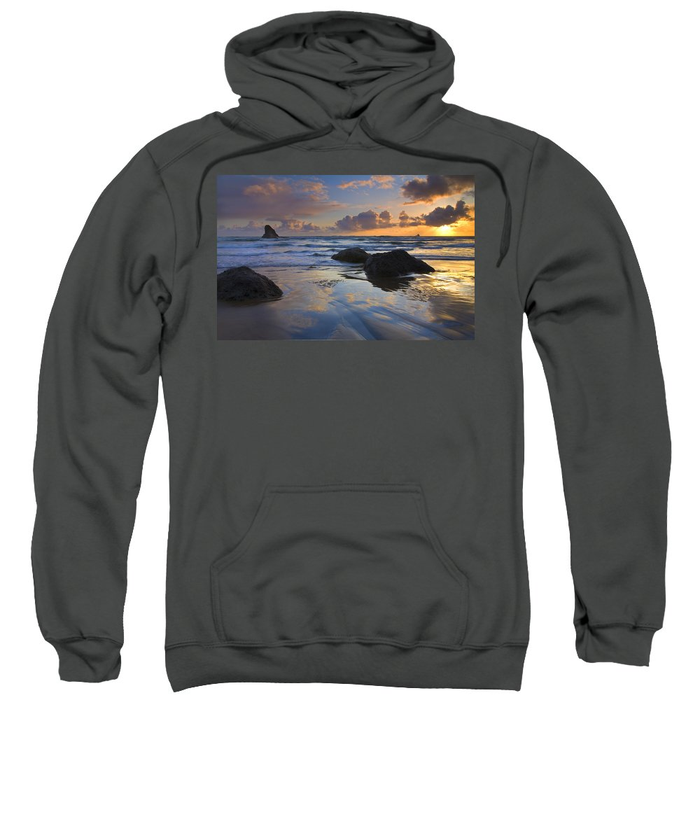 Sunset Sweatshirt featuring the photograph Reflections In The Sand by Mike Dawson