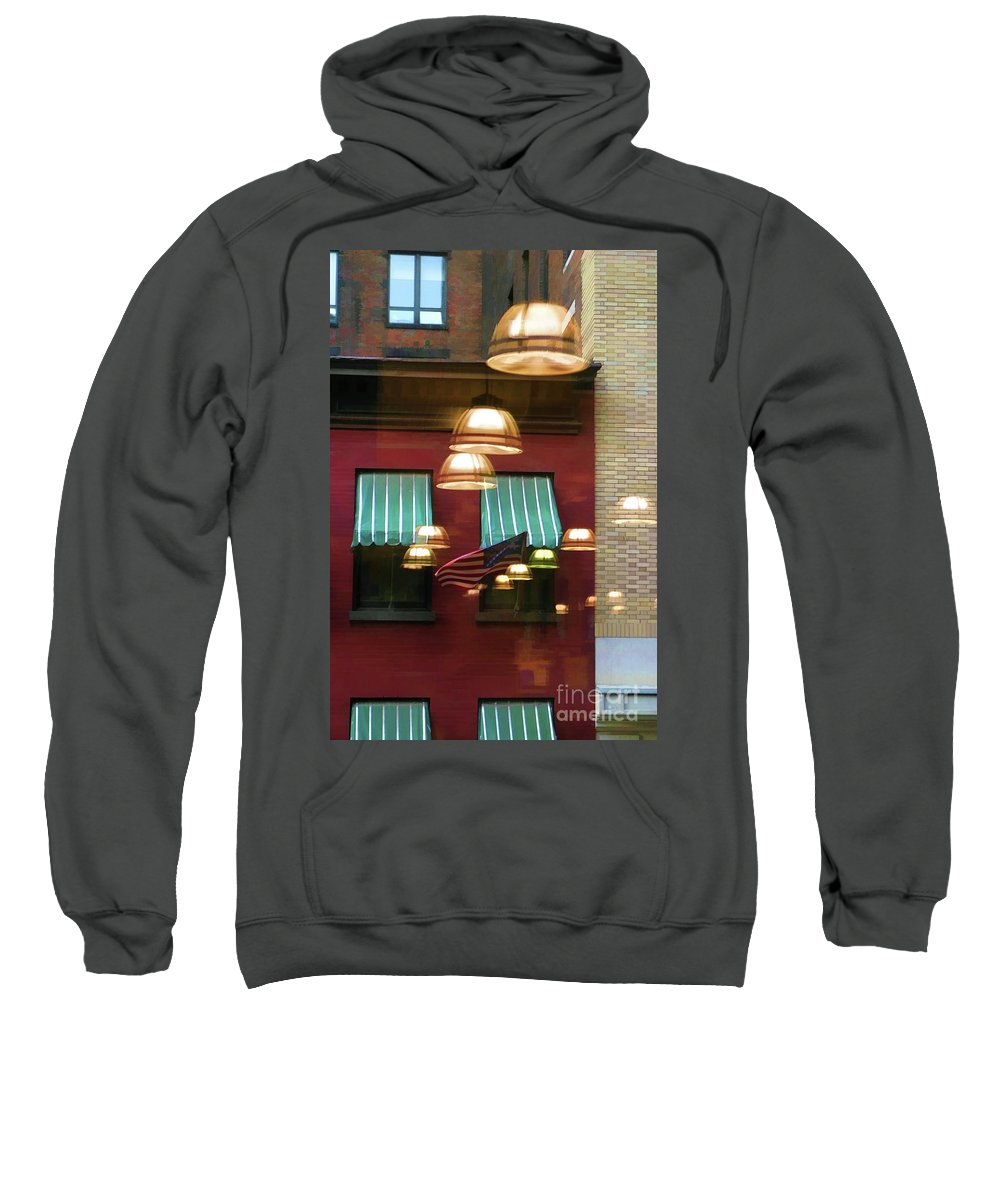New York Sweatshirt featuring the photograph Reflections Light Buildings by Chuck Kuhn