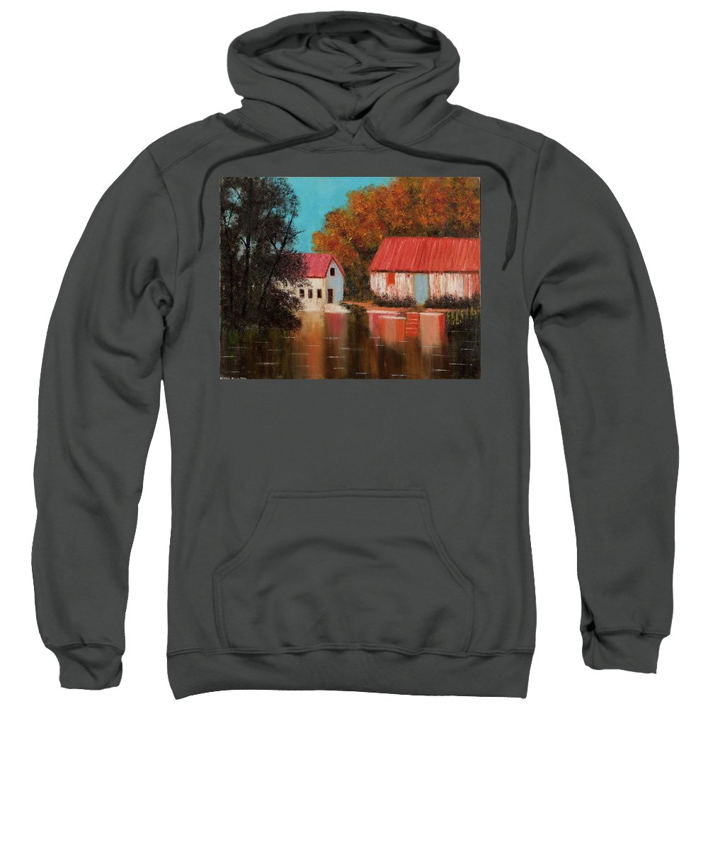 Landscape Sweatshirt featuring the painting Reflections by Nissan Rabin