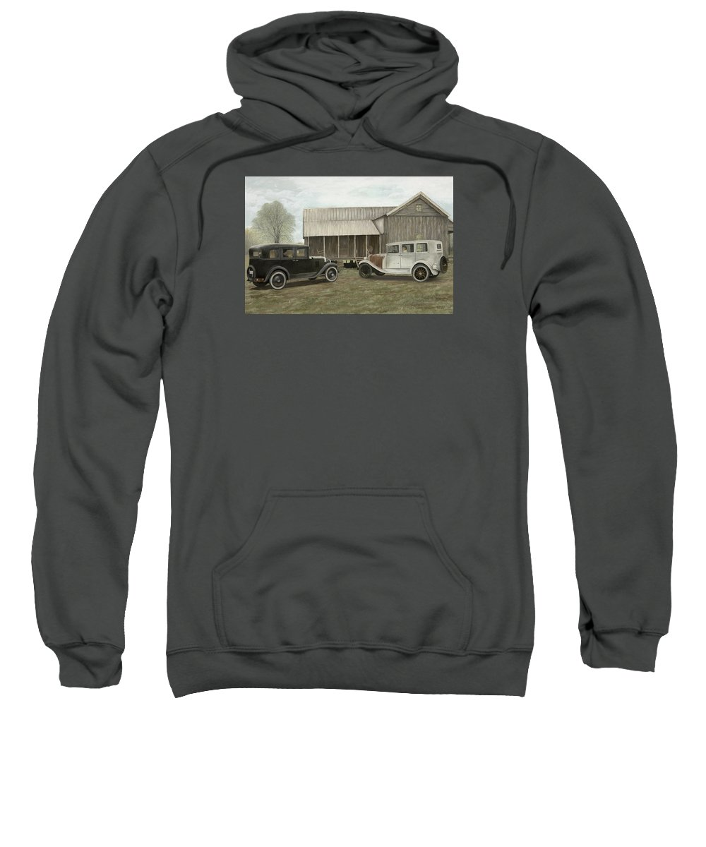 Old Cars Paintings Sweatshirt featuring the painting Reflections Of The Past by Mary Ann King