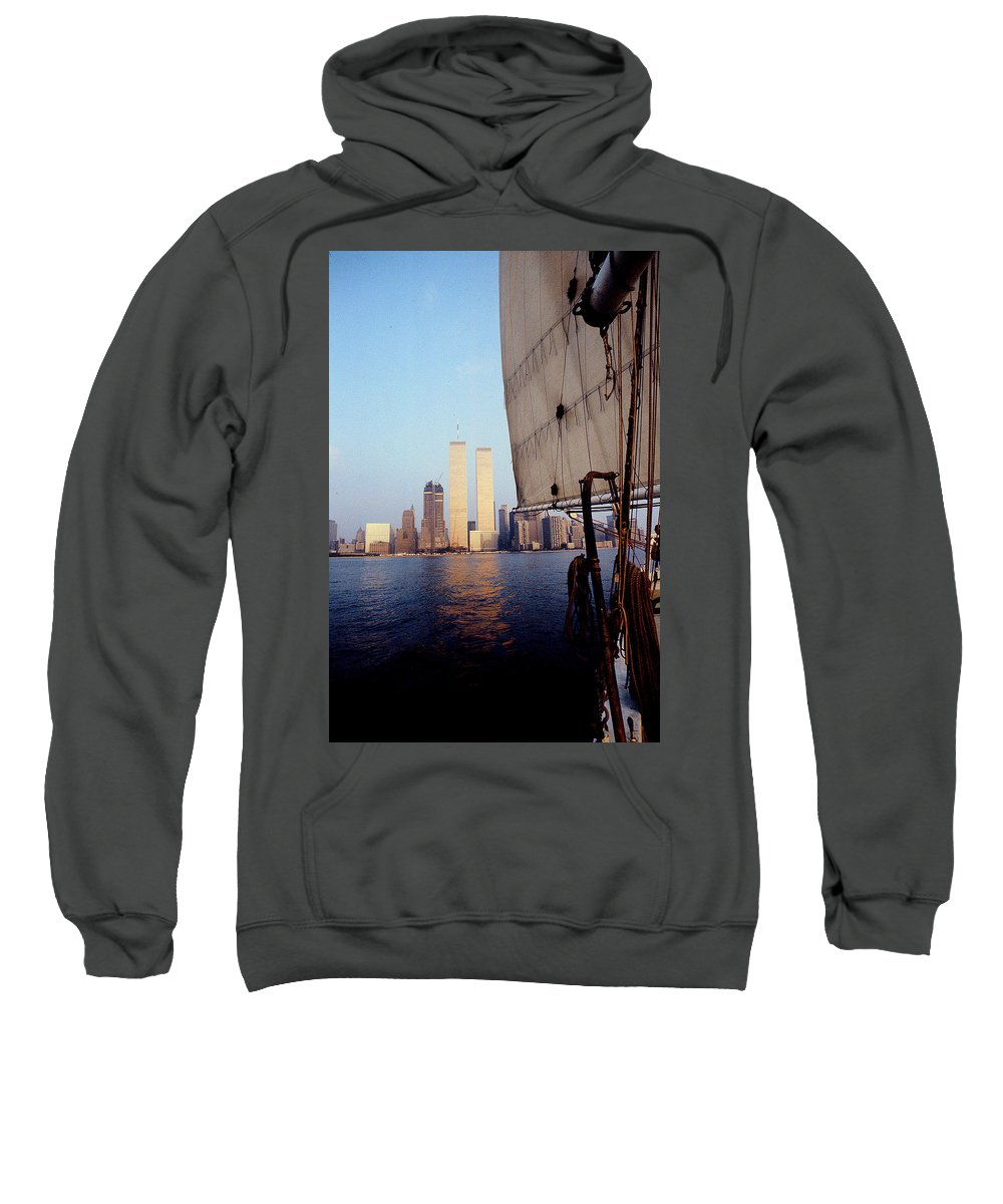 Twin Towers Sweatshirt featuring the photograph Reflections Of What Was  by Mazziotta Collection