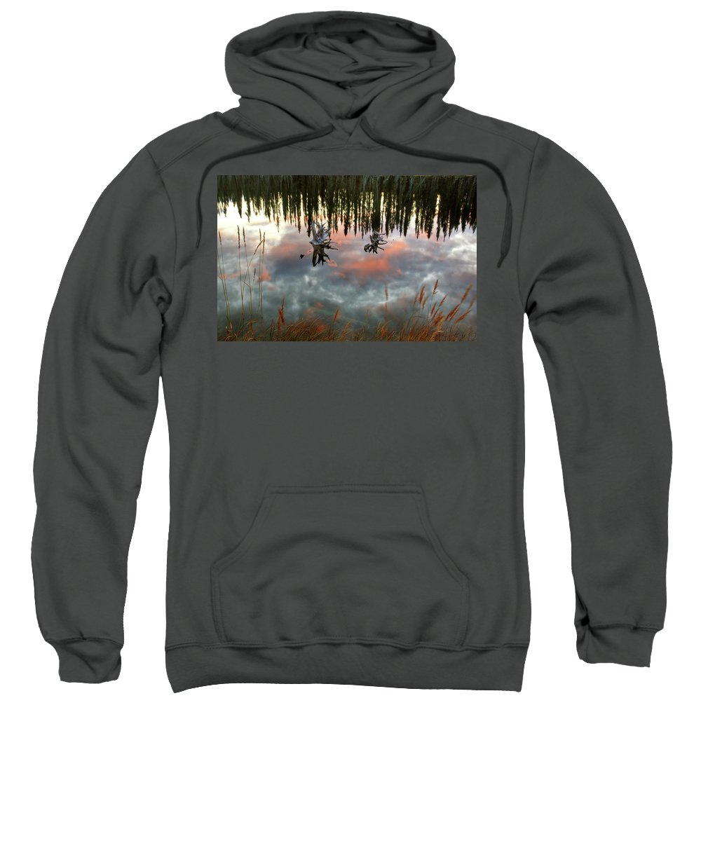 Reflection Sweatshirt featuring the digital art Reflections Off Pond In British Columbia by Mark Duffy